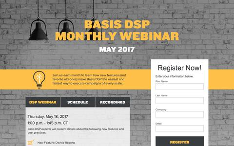 Screenshot of Landing Page centro.net - Basis DSP Monthly Webinar - captured July 13, 2017