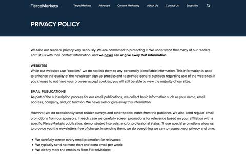Screenshot of Privacy Page fiercemarkets.com - Privacy Policy | FierceMarkets - captured Aug. 24, 2016