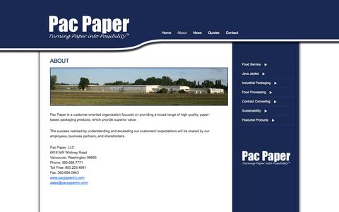 Screenshot of About Page pacpaperinc.com - About |Pac Paper, Inc. - captured Sept. 26, 2014
