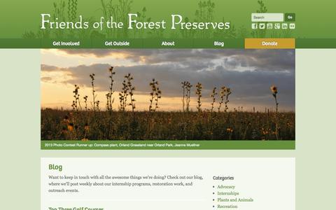 Screenshot of Blog fotfp.org - Blog - Friends of the Forest Preserves - captured Oct. 1, 2014