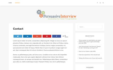 Screenshot of Contact Page persuasiveinterview.com - Contact – Persuasive Interview - captured Dec. 7, 2018