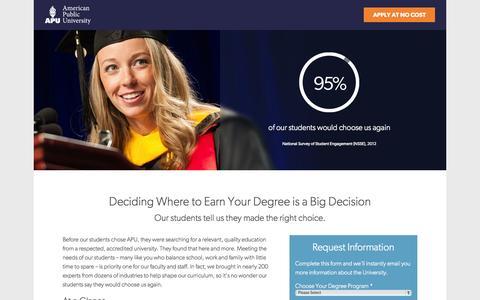 Screenshot of Landing Page apus.edu - Online Degrees & Certificates | American Public University - captured Oct. 22, 2015
