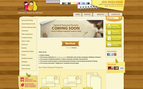 Screenshot of Services Page print-me.com.au - Melbourne CBD Printing Services - Print Me - captured Oct. 3, 2014