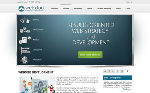 Screenshot of Services Page webxloo.com - Services - WebXloo: Web Development and Design Company - captured Oct. 7, 2014