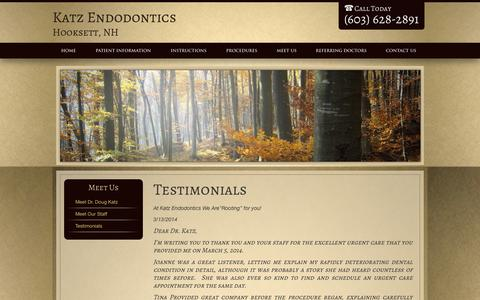 Screenshot of Testimonials Page drdougkatz.com - Testimonials, Endodontics Hooksett NH Katz Endodontics - captured Oct. 6, 2014