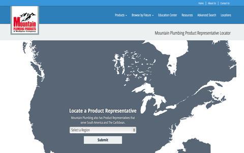 Screenshot of Locations Page mountainplumbing.com - Mountain Plumbing Product Representative Locator - captured Nov. 5, 2014