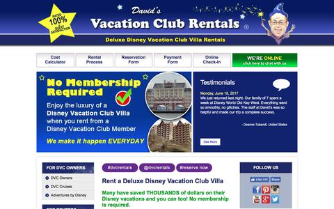 Screenshot of Home Page dvcrequest.com - DVC Rentals from Davids Disney Vacation Club Point Rentals - captured June 25, 2017
