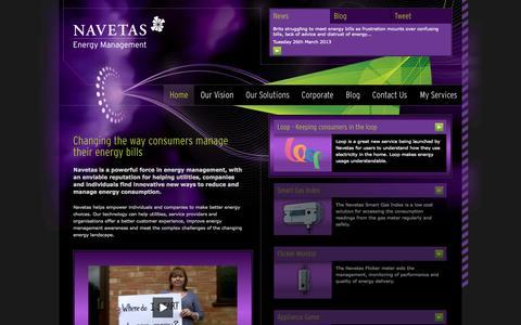 Screenshot of Home Page navetas.com - Navetas Energy Management - captured Sept. 16, 2014
