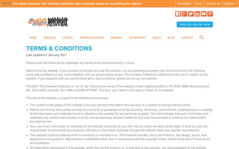 Screenshot of Terms Page thecreativecollective.com.au - terms and conditions - captured Sept. 22, 2014