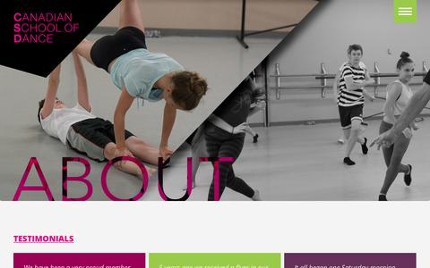 Screenshot of Testimonials Page canadianschoolofdance.com - Testimonials » Canadian School Of Dance - captured Nov. 4, 2018