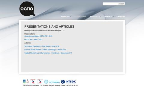 Screenshot of Press Page octio.com - Presentations and Articles | Octio - captured Dec. 2, 2016