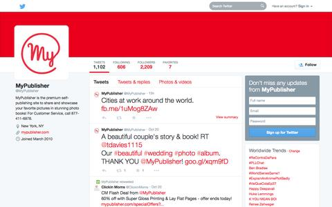 Screenshot of Twitter Page twitter.com - MyPublisher (@MyPublisher) | Twitter - captured Oct. 22, 2014