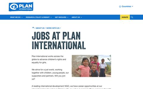 Screenshot of Jobs Page plan-international.org - Jobs | Vacancies | Careers | Plan International - captured July 13, 2016