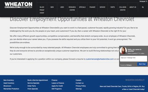 Screenshot of Jobs Page wheatonchev.com - Career Opportunities at Wheaton Chevrolet Ltd. - captured Nov. 4, 2017
