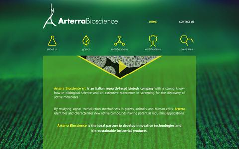 Screenshot of Home Page arterrabio.it - Arterra Bioscience- home - captured Oct. 4, 2014