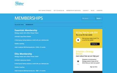 Screenshot of Services Page shinefit.com - MEMBERSHIPS | Shine Fitness - captured Nov. 3, 2014