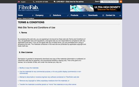 Screenshot of Privacy Page Terms Page fibrefab.com - Terms & Conditions - FibreFab Ltd - captured Oct. 23, 2014