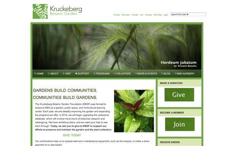 Screenshot of Support Page kruckeberg.org - SUPPORT - captured Oct. 6, 2014