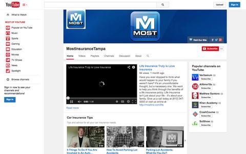 Screenshot of YouTube Page youtube.com - MostInsuranceTampa  - YouTube - captured Oct. 26, 2014