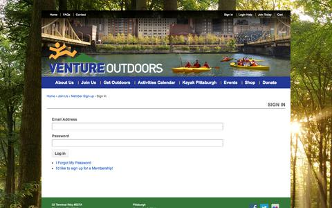 Screenshot of Login Page ventureoutdoors.org - Sign In - Venture Outdoors - captured Nov. 5, 2014