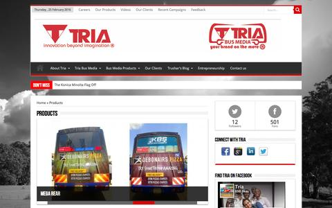 Screenshot of Products Page tria.co.ke - Products   Tria Group - captured Feb. 25, 2016