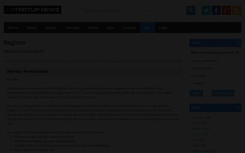 Screenshot of Signup Page startupnews.com.au - Register | //Startup News - captured Sept. 30, 2014
