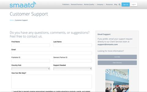 Screenshot of Support Page smaato.com - Customer Support and Assistance | Smaato - captured Oct. 30, 2019