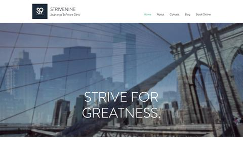 Screenshot of Home Page strivenine.com - Javascript Consulting | New York City | StriveNine - captured July 9, 2018
