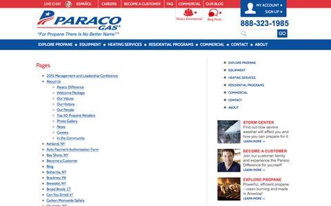 Screenshot of Site Map Page paracogas.com - Sitemap | Paraco Gas - captured Oct. 20, 2016