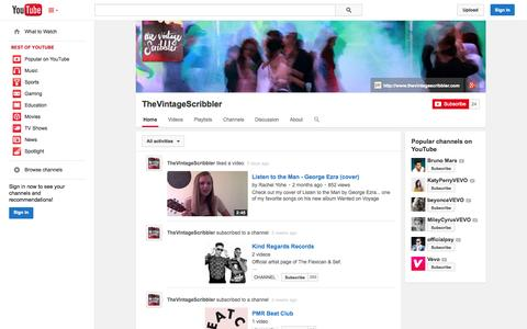 Screenshot of YouTube Page youtube.com - TheVintageScribbler  - YouTube - captured Oct. 25, 2014