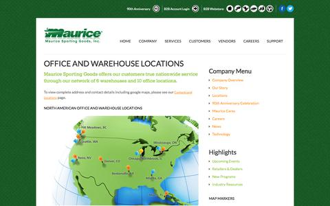 Screenshot of Locations Page maurice.net - Office and Warehouse Locations | Maurice Sporting Goods - captured Oct. 27, 2014