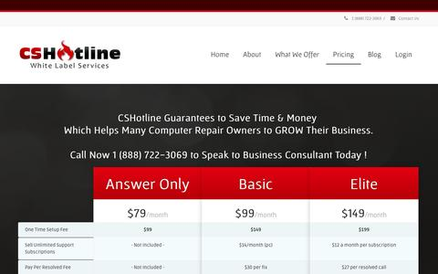Screenshot of Pricing Page cshotline.com - CSHotline Pricing | CSHotline.com - captured Oct. 1, 2014