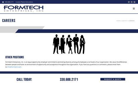 Screenshot of Jobs Page formtech.com - Careers - Custom Plastic Extrusions | Formtech Enterprises - captured Oct. 10, 2018