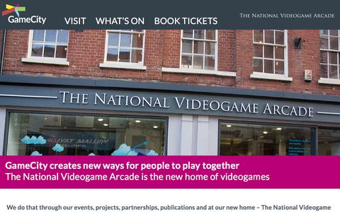 Screenshot of About Page gamecity.org - About | GameCity & The National Video Game Arcade - captured Dec. 7, 2015