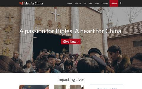 Screenshot of Home Page biblesforchina.org - Bibles for China | Bringing God's Word to Rural China - captured June 17, 2015