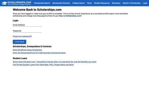 Screenshot of Login Page scholarships.com - Scholarships.com Free College Scholarship Search, Student Loans & College Scholarships - captured Sept. 22, 2018