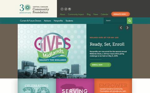 Screenshot of Home Page yourfoundation.org - Central Carolina Community Foundation - captured Oct. 2, 2014
