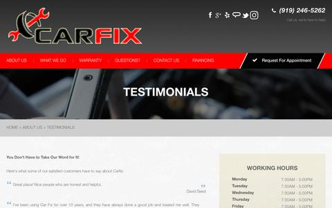 Screenshot of Testimonials Page carfix.us.com - Garner, NC 27529 Testimonials - captured July 16, 2018