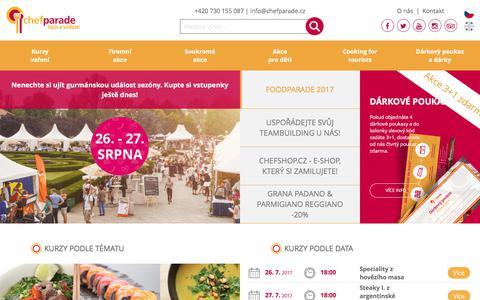 Screenshot of Home Page chefparade.cz - Škola vaření   Chefparade.cz - captured July 25, 2017