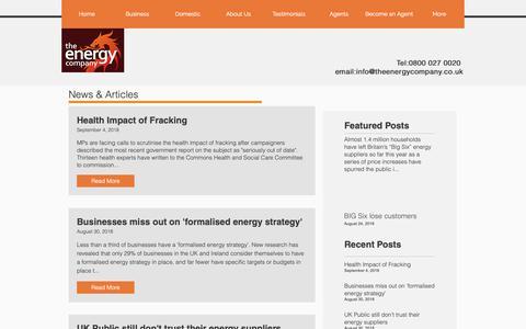 Screenshot of Press Page theenergycompany.co.uk - theenergycompany | News - captured Dec. 21, 2018
