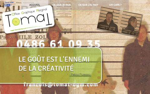 Screenshot of Home Page tomat-ogm.com - Tomat - Office Graphique Marginal | graphiste Huy Andenne Ciney - captured Oct. 6, 2014