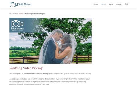 Screenshot of Pricing Page keithmalone.ie - Wedding Videographer Packages | Wedding Video Prices - captured Oct. 17, 2017