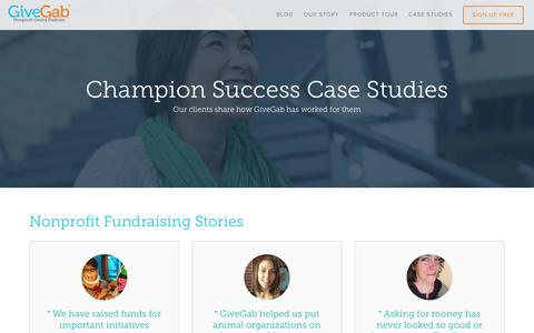 Screenshot of Case Studies Page givegab.com - Case Studies - captured March 2, 2016