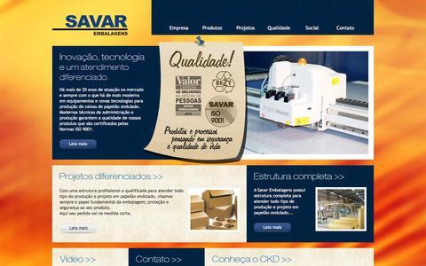 Screenshot of Home Page savar.com.br - Savar Embalagens - captured Feb. 4, 2016