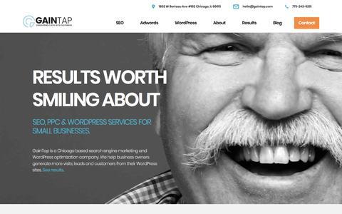 Screenshot of Home Page gaintap.com - GainTap - Search Engine Marketing & Wordpress Optimization | Chicago - captured July 8, 2018