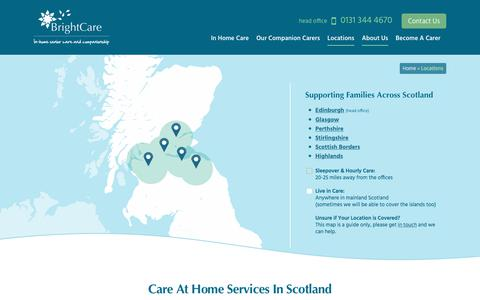 Screenshot of Contact Page Locations Page brightcare.co.uk - Care at Home Services | Scotland-wide Locations | Bright Care - captured Aug. 3, 2018