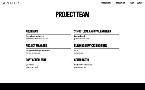 Screenshot of Team Page senatorlondon.com - Project Team   Senator London - captured July 11, 2018