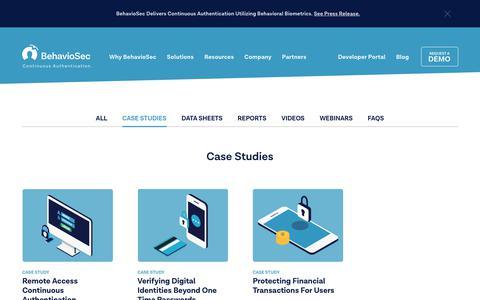 Screenshot of Case Studies Page behaviosec.com - Case Studies   Behaviosec - captured Sept. 8, 2018