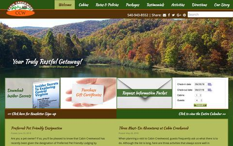 Screenshot of Home Page cabincreekwood.com - Cabins for Rent in VA - Rental Cabins in Virginia - captured Sept. 26, 2018