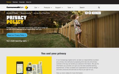 Screenshot of Privacy Page commbank.com.au - Learn about our Privacy Policy - CommBank - captured Sept. 19, 2014